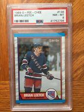 1989 Brian Leetch New York Rangers Rookie Card RC Graded PSA 8