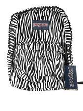 Jansport Super Break Black White Zebra Print Backpack NWT