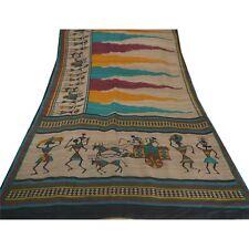 Sanskriti Vintage Beige Heavy Saree Pure Khadi Silk Warli Woven Fabric 5 Yd Sari