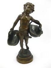Auguste Moreau Bronze Jugendstil Historismus Figur Mädchen Blumenkorb