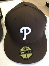 PHILADELPHIA PHILLIES BROWN HAT WHITE P 5950 NEW ERA FLAT BRIM FITTED HAT
