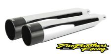 Two Brothers 005-4560499D Chrome Black Dual Slip On Straight Cut 17-19 Harley M8