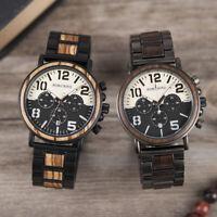 BOBO BIRD Men's Wooden Watch Date Chronograph Military Quartz Wood Wrist Watches