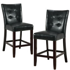 Set of 2 Parson Style Counter Height High Chairs Black Upholstered Tufted Back