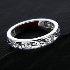 and Wedding Band Ring for Women's Solid 14k White Gold Vintage Anniversary