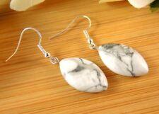 White Howlite Pair of Gemstone Dangle Earrings with Hypoallergenic Hooks #493