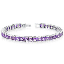 12.50 CTS Princess Cut Amethyst GEMSTONE Tennis Bracelet in Sterling Silver