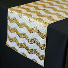 YCC   14 X 108 Inch Chevron Sequin Table Runner White And Gold