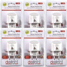 6 LED Nachtlicht mit Dämmerungssensor 1 LED 4,5x2,5cm für Steckdose 360° drehbar