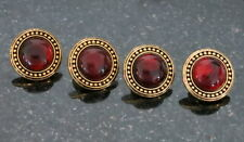 """New listing 4 Amber Glass and Bronze Colored Metal Buttons Made in Italy 5/8"""" 15mm"""
