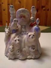"Ceramic Music Box Silvestri Santa w/ Animals  ""We Wish You A Merry Christmas"""