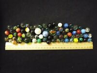 LOT OF 74 ANTIQUE VINTAGE MARBLES OPAQUE SWIRL SHOOTER AKRO AGATE (56)