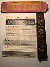 Antique  ADDOMETER  Portable adding machine  Chicago, w. instruction sheet  RARE