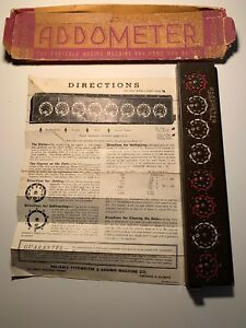 Antique ADDOMETER Portable adding machine Chicago with instruction sheet RARE !!
