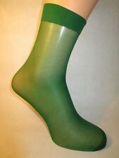 Smooth Sheer Nylon Socks. Lower/Mid Calf Length. GREEN.
