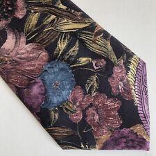LUCARELLI Tie Floral Purple Blue Green Black