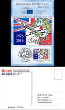 "CO-RET63 Card Eur. Parliament ""40. 1st Concorde BA flight London-Barhein"" 8-5-16"