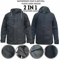 Mens Hiking Waterproof Padded Coat Fleece Lined 2 in 1 Zip Fleece Hood Jacket