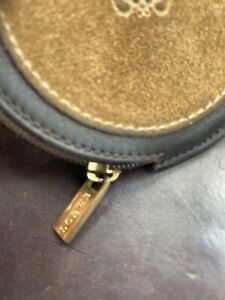 Vintage loewe coin purse round Suede Brown Leather As New