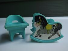 Fisher Price Little People Vintage Nursery Rocking Horse and High Chair