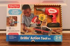 DRILLIN ACTION TOOL SET Toy Fisher Price Preschool Pre-K Handyman Age 2-6 NEW