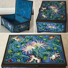 ANTIQUE CHINA CHINESE ASIAN ORIENTAL ENAMELED CASE JEWELRY OR TEA BOX CLOISONNÉ