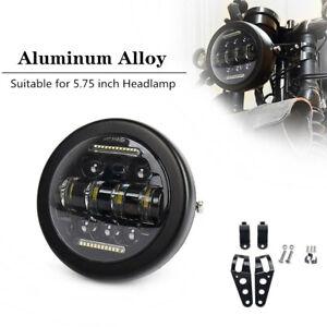 """5.75"""" 12V Aluminum Alloy Retro Motorcycle Bikes LED Headlight With Bracket Set"""