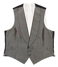 Polo Ralph Lauren Mens Tuxedo Tux Silk Suit Vest Metallic Silver Black Italy 40R
