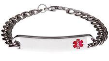 Stainless Steel Slim Red Bracelet Medical ID Alert Jewellery by Mediband