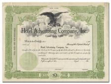Hotel Advertising Company, Inc. Stock Certificate (New York)