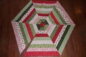 Christmas Tree Skirt Top Kit #1 Cotton Fabric * Red/White/Green Prints