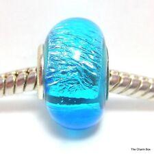 SKY BLUE FOIL Murano Glass European Bracelet Charm Bead