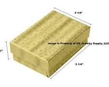 Wholesale 200 Gold Cotton Fill Jewelry Packaging Gift Boxes 3 1/4 x 2 1/4 x 1
