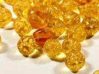 Lot (100) 10mm Czech vintage mixed yellow topaz floral molded nugget glass beads