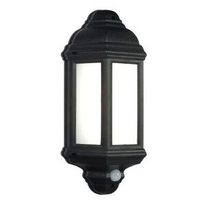 SAXBY 7W LED PIR Outdoor Half Wall Lantern Motion Security Sensor Black IP44
