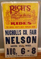 Vintage Carnival Poster, Nelson Nebraska, Rich's Amusement Rides