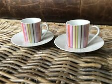 Habitat Raya Coffee Cups And Saucers X 2 Stripe