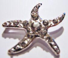 2 Silver Grade A Rhinestone Starfish Wedding Scrapbooking Buckles 15mm Bar m0302