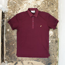 New yves saint laurent bordeaux pique polo t-shirt authentique rrp: £ 350 bnwt-l