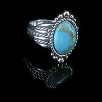 Southwestern .925 Sterling Silver Natural Turquoise Ring Band Size 8.75