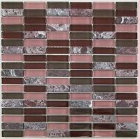 Dark Red Subway Glass and Stone Mosaic Tile for Bathroom, Kitchen, Backsplash