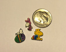3 FLOATING LOCKET CHARMS EASTER SNOOPY BUNNY WOODSTOCK EGGS ADORABLE