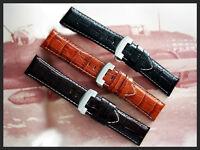 24mm Genuine Crocodile calf watch band Pan strap w/ SS Deployment IW SUISSE USA