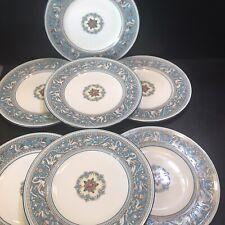 "7 Wedgwood Florentine Turquoise Salad Or Dessert Plates 8"" Griffins C 1930s"