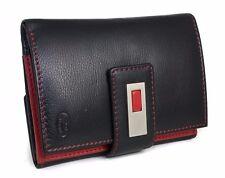 Damen Geldbörse / Portemonnaie aus echtem Nappa- Leder / Schwarz - Rot / NEU