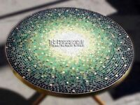 "24"" Adornment Marble Top Bedroom Table Malachite Inlay Handcraft Interior Decors"