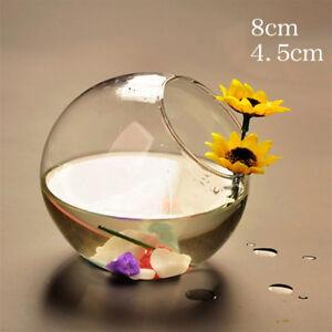 Round Clear Glass Aquarium Vase Fish Tank Goldfish Bowl Home Office Table Decor