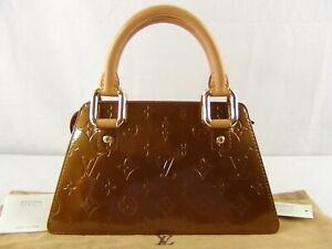 US seller Authentic LOUIS VUITTON VERNIS MINI FORSYTH HAND BAG BRONZE GOOD LV