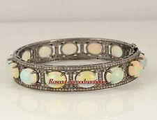 925% Opal Bracelet Party Wear Looks New Victorian Rose Cut Diamond 5.78ct Silver