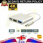 C-Type to 4K HDMI USB 3in1 Hub Adapter Cable For Apple Android Samsung Huawei LG